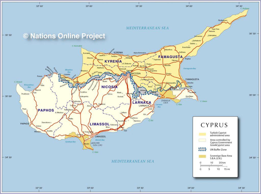 [תמונה] האי מחולק של קפריסין (Nations Online Project)