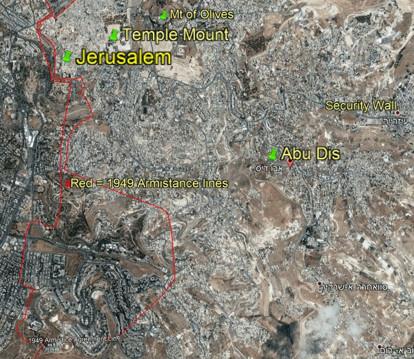 מפת ירושלים ומחנה הפליטים שועפאט וכפר עקב // צילום: גוגל מפות