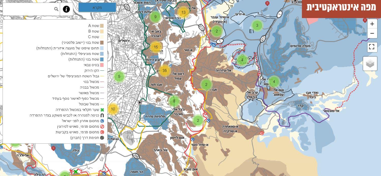 מפת אזור ירושלים // מתוך אתר בצלם