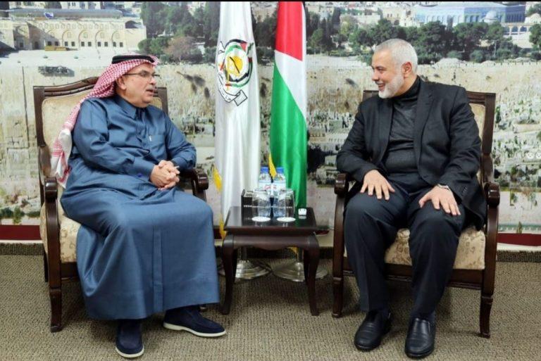 פגישת הנייה , מנהיג החמאס עם השליח הקאטרי