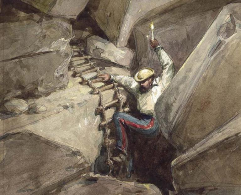 """Charles Warren's exploration: """"Fallen Voussoirs of Robinson's Arch. Jerusalem"""" (Palestine Exploration Fund, painting by W. Simpson, 1869)"""