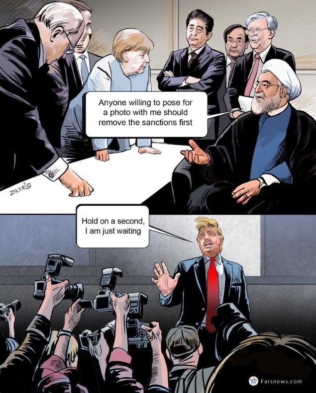 קריקטורה בעיתון באיראן.