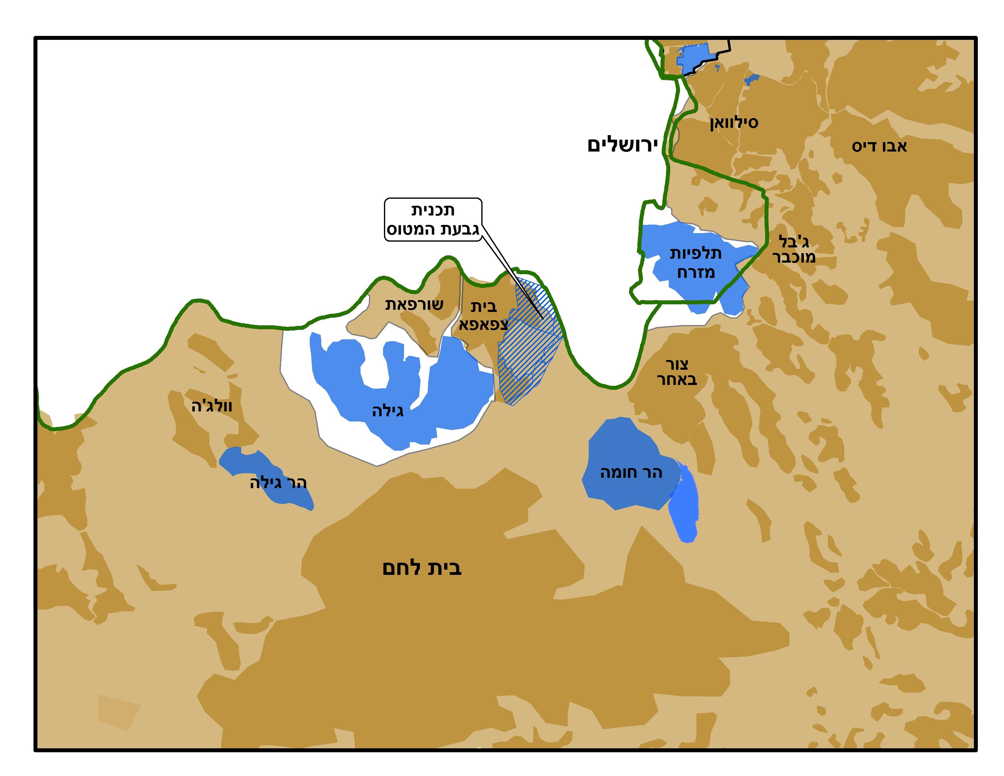 מפת אזור גבעת המטוס וחשיבותה // מתוך אתר שלום עכשיו