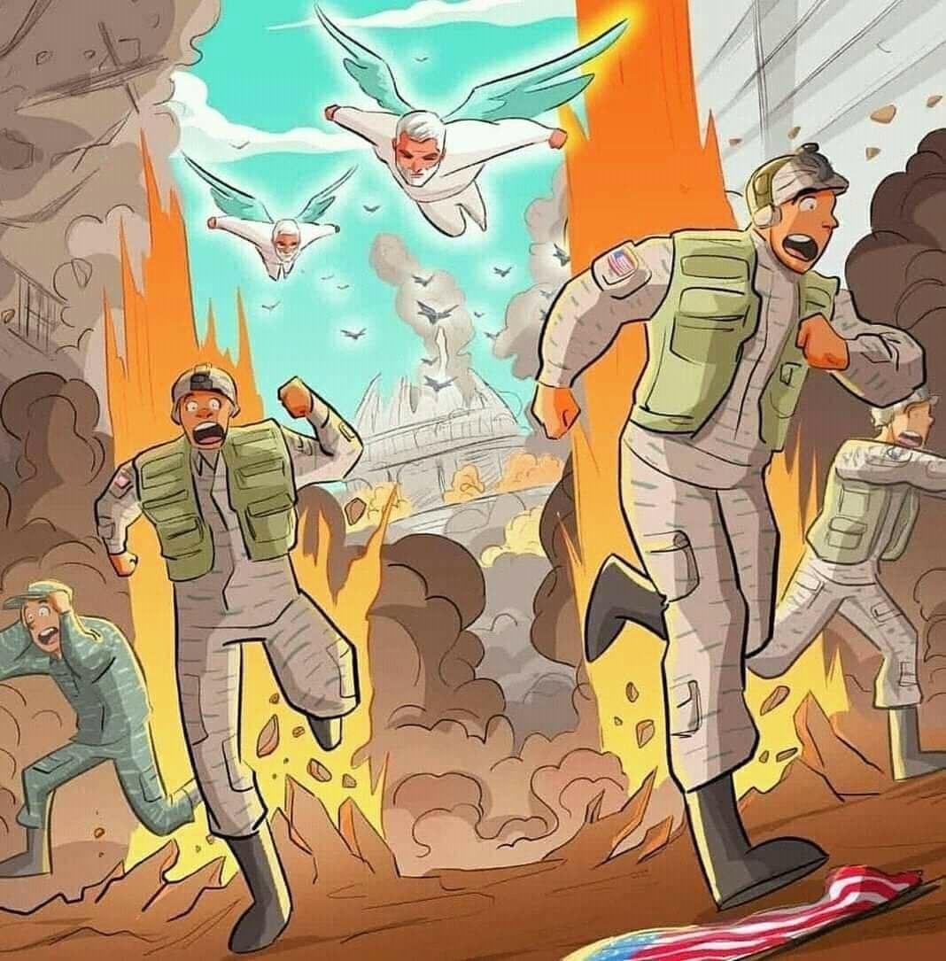 """קריקטורה איראנית - בריחה של כוחות ארה""""ב"""