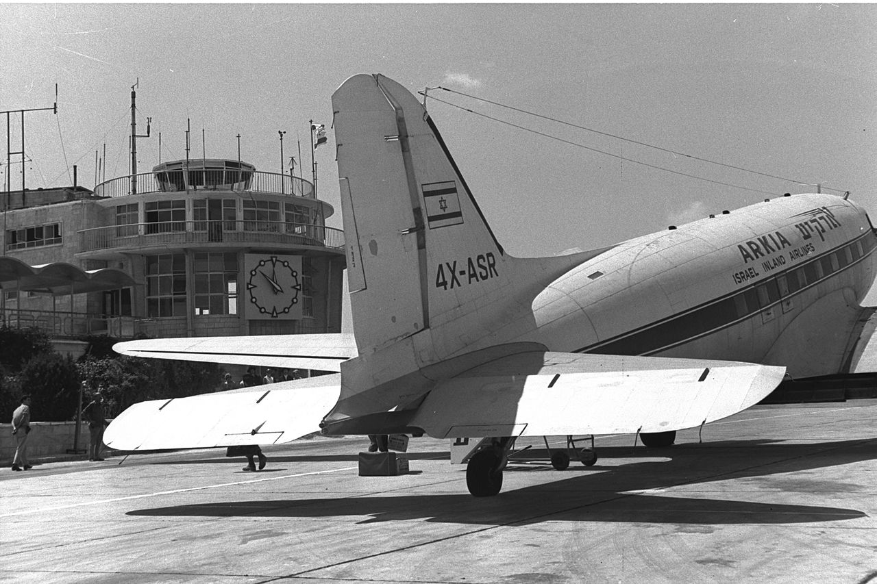 AN ARKIA PASSENGER PLANE FROM TEL AVIV, AFTER ITS LANDING IN FRONT OF THE JERUSALEM AIRPORT TERMINAL AT ATAROT.