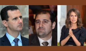 מימין לשמאל: אסמאה אסד, רמי מחלוף והנשיא באשר אל אסד