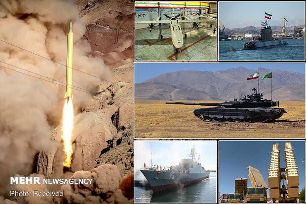 תצוגת כלי הנשק שהופעלו בתרגיל של איראן