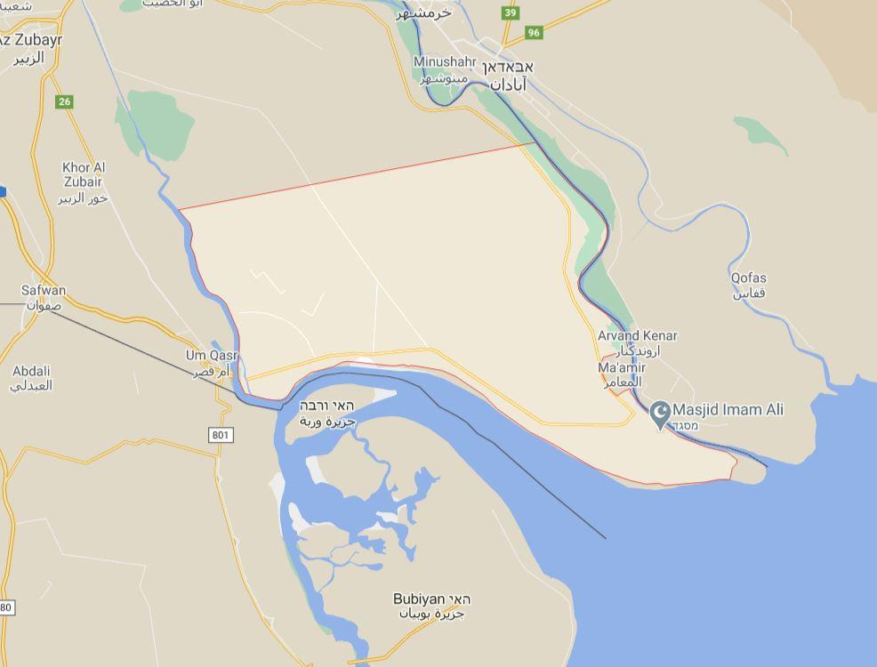 אזור חצי האי AL FAW , עיראק // קרדיט: גוגל מפות