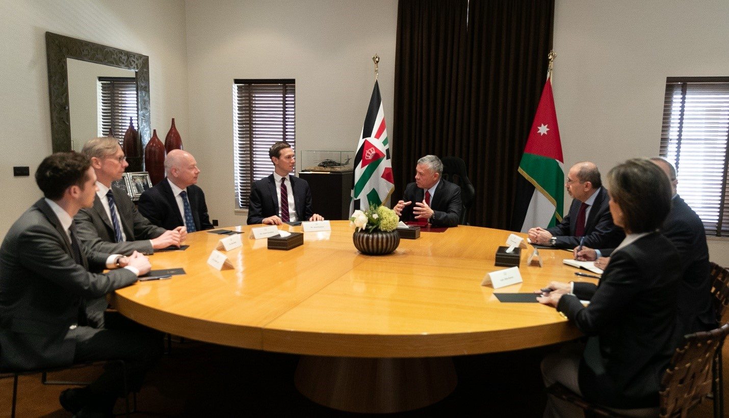 Jared Kushner, Senior Advisor to President Trump, meeting with Jordan's King Abdullah on May 29, 2019. American officials are on the left. Jordanian officials, including then-senior advisor Bisher Khasawneh, are on the right. (King Abdullah II's official website)