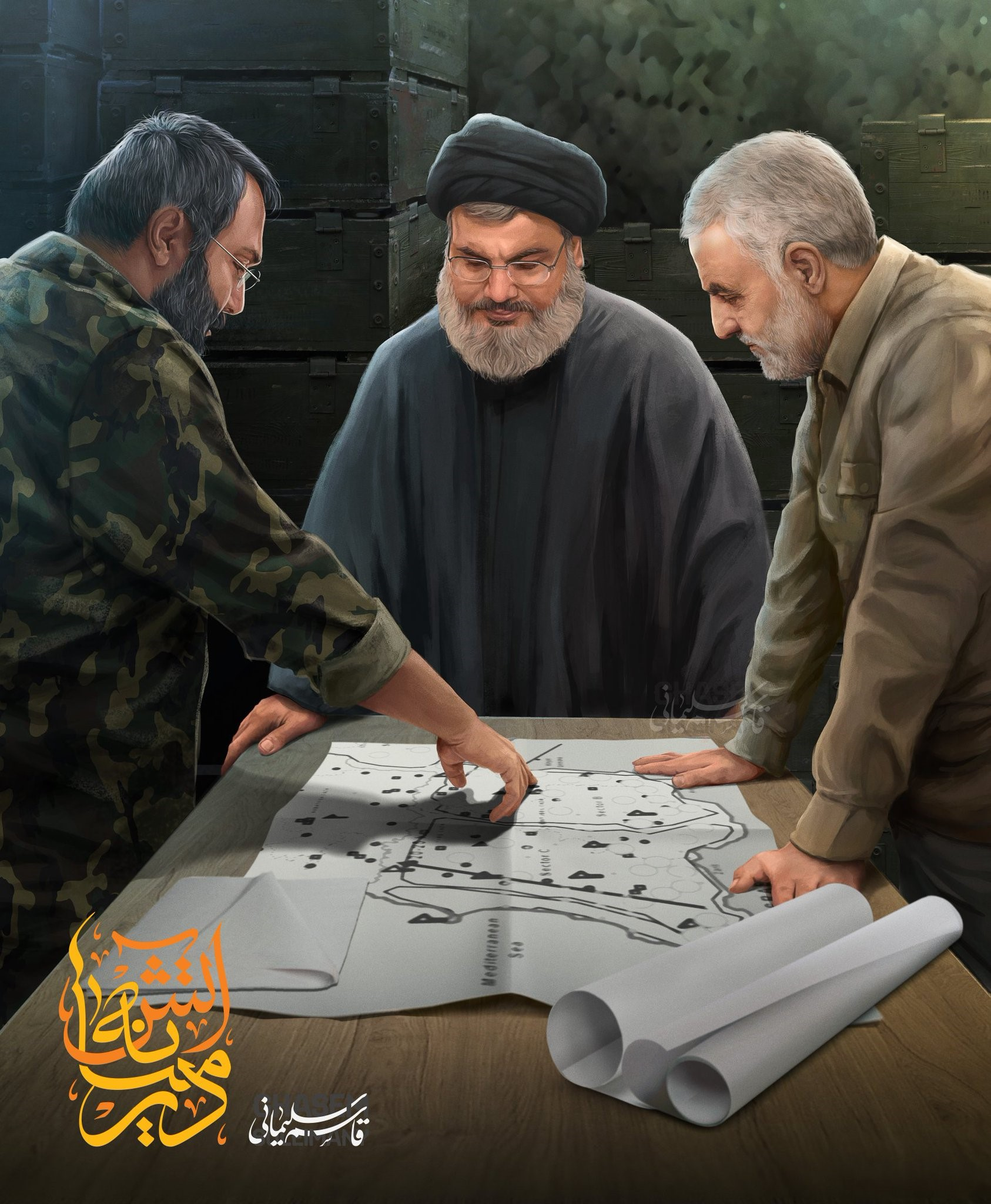 A painting of Imad Mughniyeh (left), briefing Hassan Nasrallah and Qasem Soleimani with a map showing military maneuvers from the 2006 Second Lebanon War.