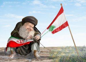 חסן נסראללה , מנהיג חיזבאללה, פורם את דגל לבנון והכניס אותו מחדש לדגל איראן.