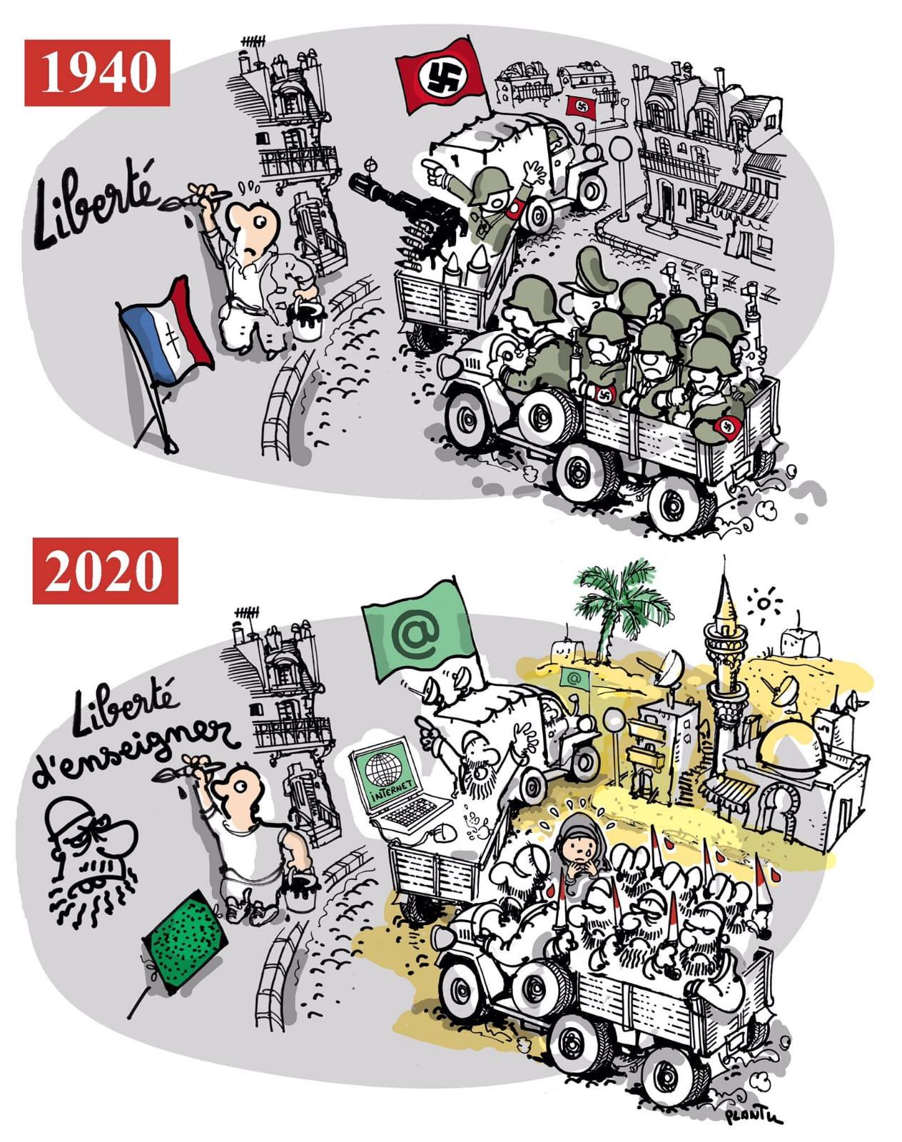 """קריקטורה של @plantu : """"מורה שנרצח בגלל שלימד את החופש לחשוב, לומר, להאמין, לכתוב ולצייר. החופש הזה הוא לב ההיסטוריה שלנו, הזהות שלנו, התרבות שלנו, והיא מותקפת."""" // מתוך למונד, צרפת"""