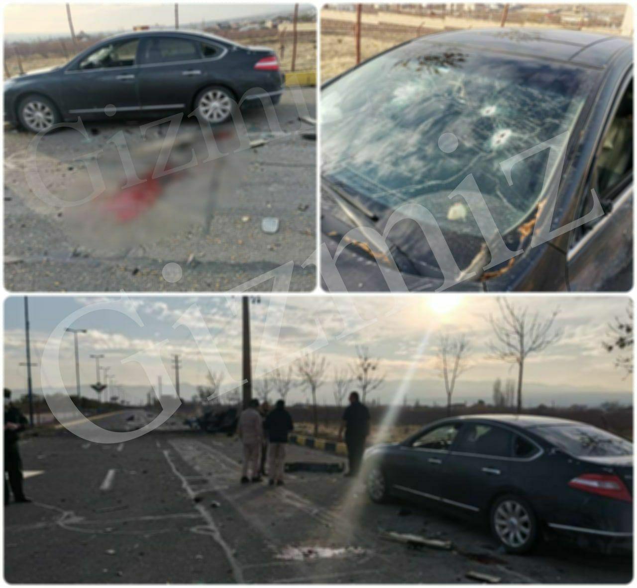 מכוניתו של פחריזאדה לאחר ההתנקשות