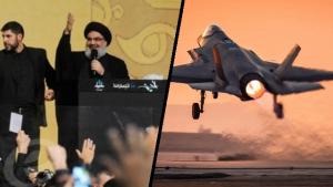 """מטוס חיל האוויר בזמן התרגיל השבוע צילום: דו""""צ, חסן נסראללה , מזכ""""ל חיזבאללה מקור: טוויטר"""