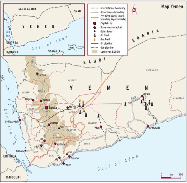 מפת שדות הנפט בתימן - הח'ותים שולטים במספר מקומות מפתח