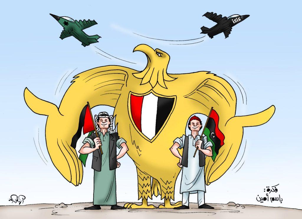 """חמאס וישראל: נעם בנעט - חלון למזרח התיכון המתחדש 'העיט המצרי מגן על לוב ופלסטין' כך צייץ של אַחְמַד קַאעוּד המצרי, קריקטוריסט הבית של עיתון השלטון 'אל-יוֹם א-סַאבֶּע'. בקריקטורה אנו רואים את עיט צלאח א-דין שמשמש כיום כחלק מסמל מצרים, שומר על הפלסטיני מהמטוס הישראלי ועל הלובי מפני דאע""""ש. קרדיט: נעם בנעט חלון למזרח התיכון המתחדש"""