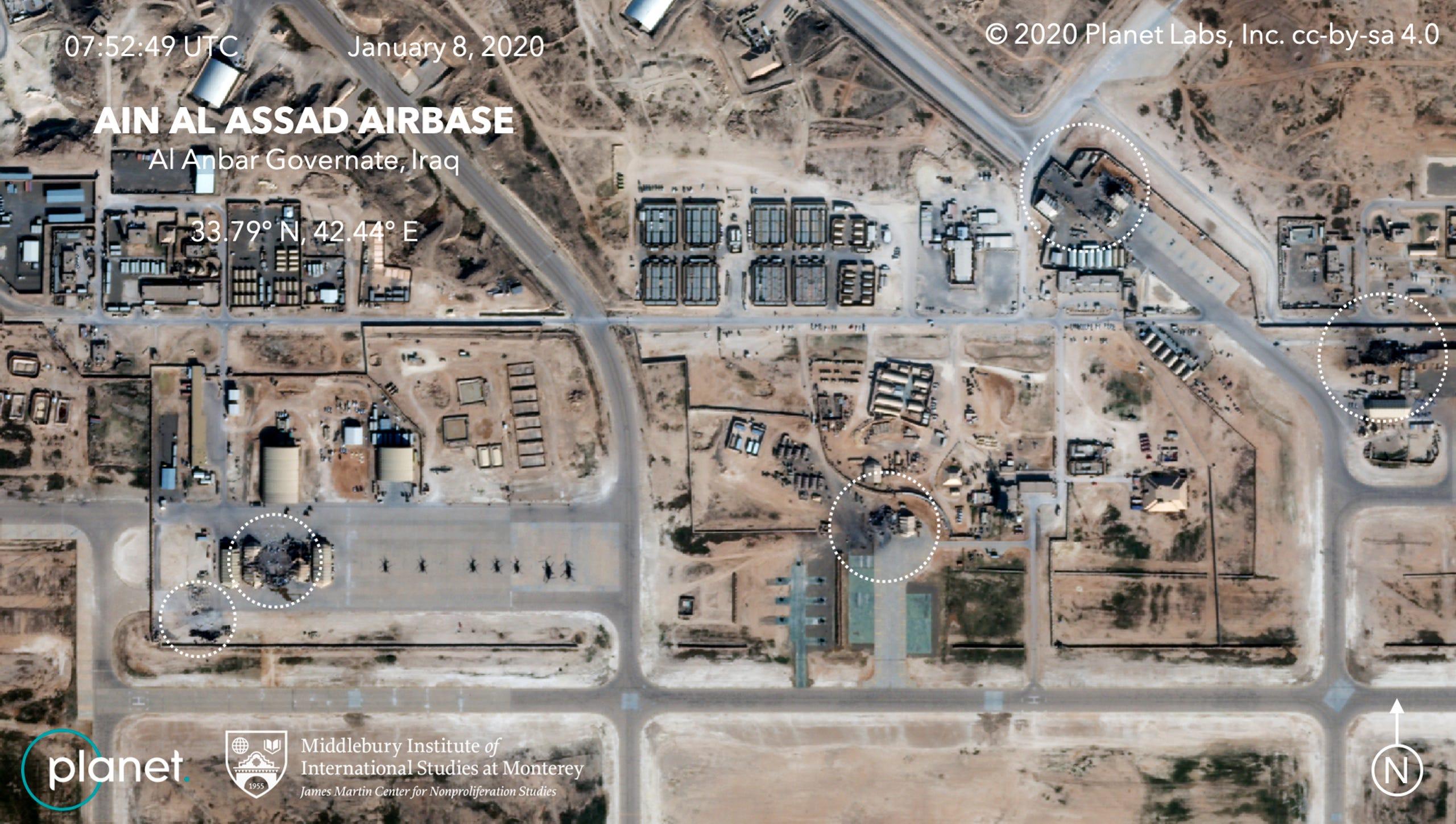 תמונות של פגיעת הטילים בסיס עין אל אסד בעיראק