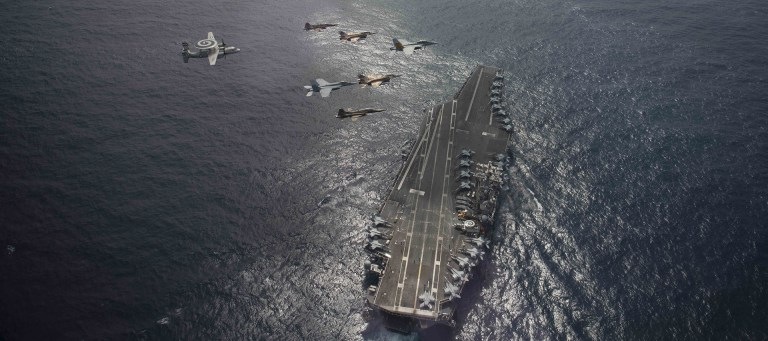 Moroccan aircraft in a joint exercise with planes from the USS Eisenhower carrier on March 4, 2021. (AFRICOM)16