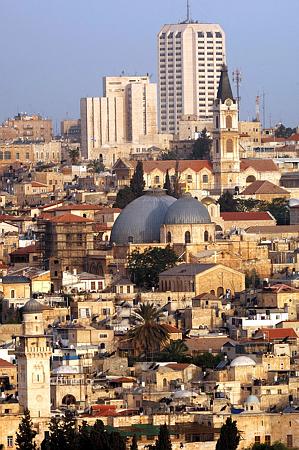 """העיר ירושלים. בצילום, מראה כללי של בתי הרובעהמוסלמי בעיר העתיקה ומגדל העיר במערב העיר. קרדיט: אבי אוחיון לע""""מ"""