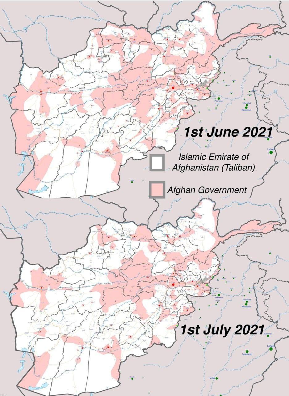 מפת ההתקדמות של הטאליבן באפגניסטן